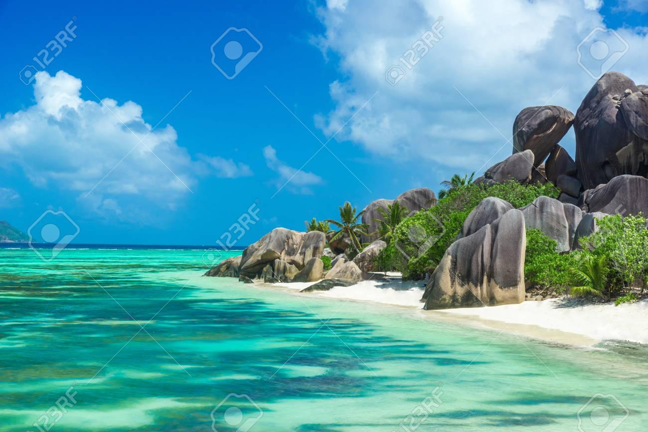 Anse Source d'Argent - Beach on island La Digue in Seychelles - 83145756