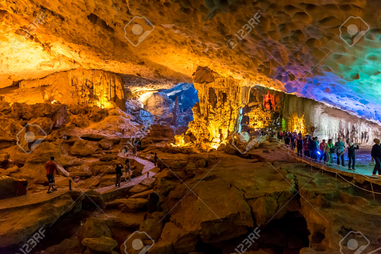Sung Sot Cave in Halong Bay, Vietnam - 83930105