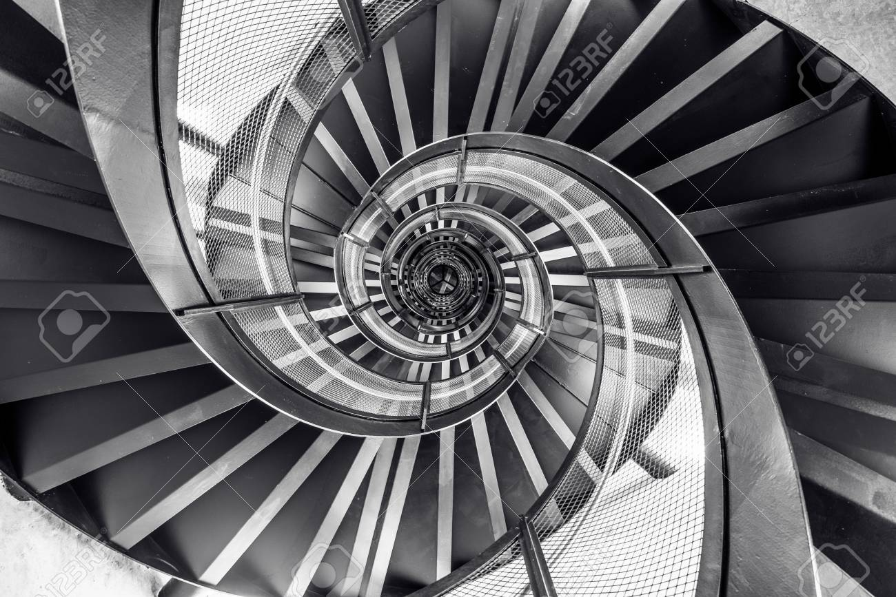 Spiral staircase in tower - interior architecture of building - 83929477