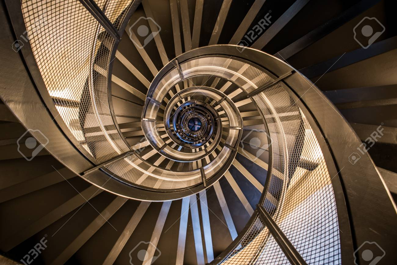 Spiral Staircase In Tower   Interior Architecture Of Building Stock Photo    83930118