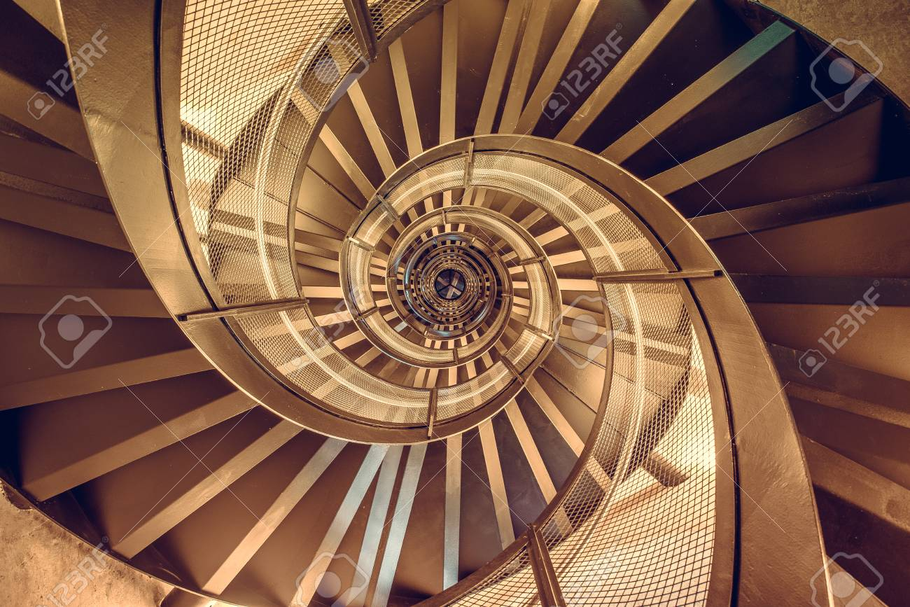 Spiral staircase in tower - interior architecture of building - 83912231
