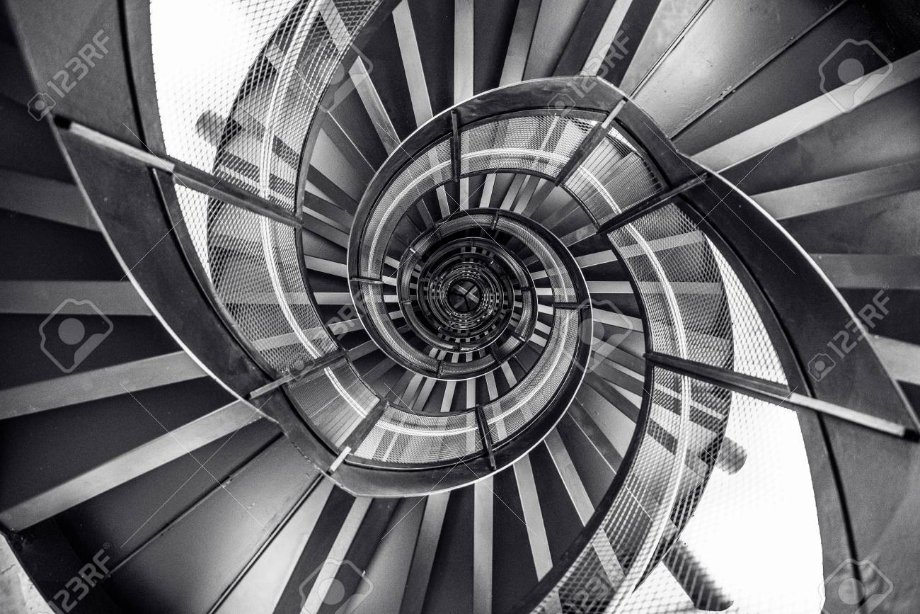 Spiral Staircase In Tower   Interior Architecture Of Building Stock Photo    83912237