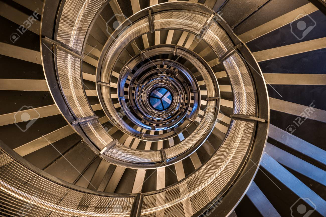 Spiral staircase in tower - interior architecture of building - 84078900