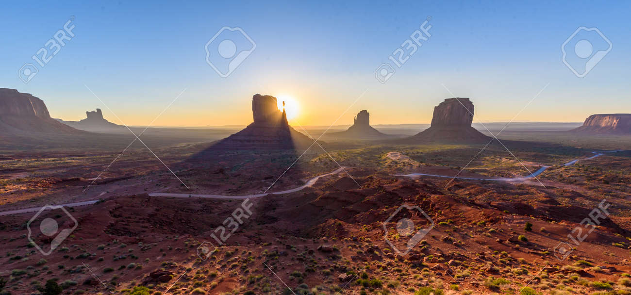 Sunrise at Monument Valley, Panorama of the Mitten Buttes - seen from the visitor center at the Navajo Tribal Park - Arizona and Utah, USA - 89678863