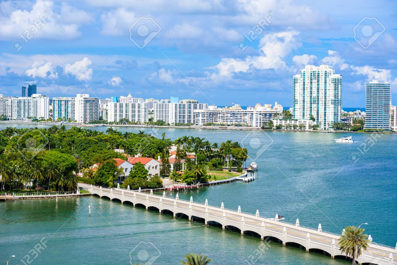 Miami Beach. Aerial view of Rivers and ship canal. Tropical coast of Florida, USA. - 90315659