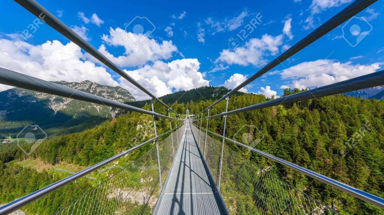 Suspension Bridge At Reutte Between Two Hills In Beautiful ...