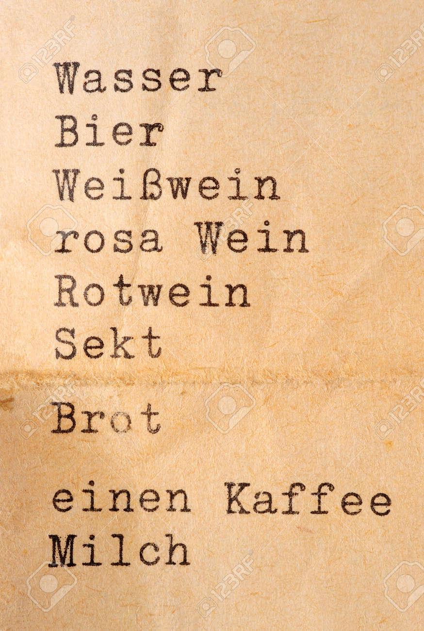 Liste Mit Getränken In Deutsch In Schreibmaschinenschrift (englisch ...