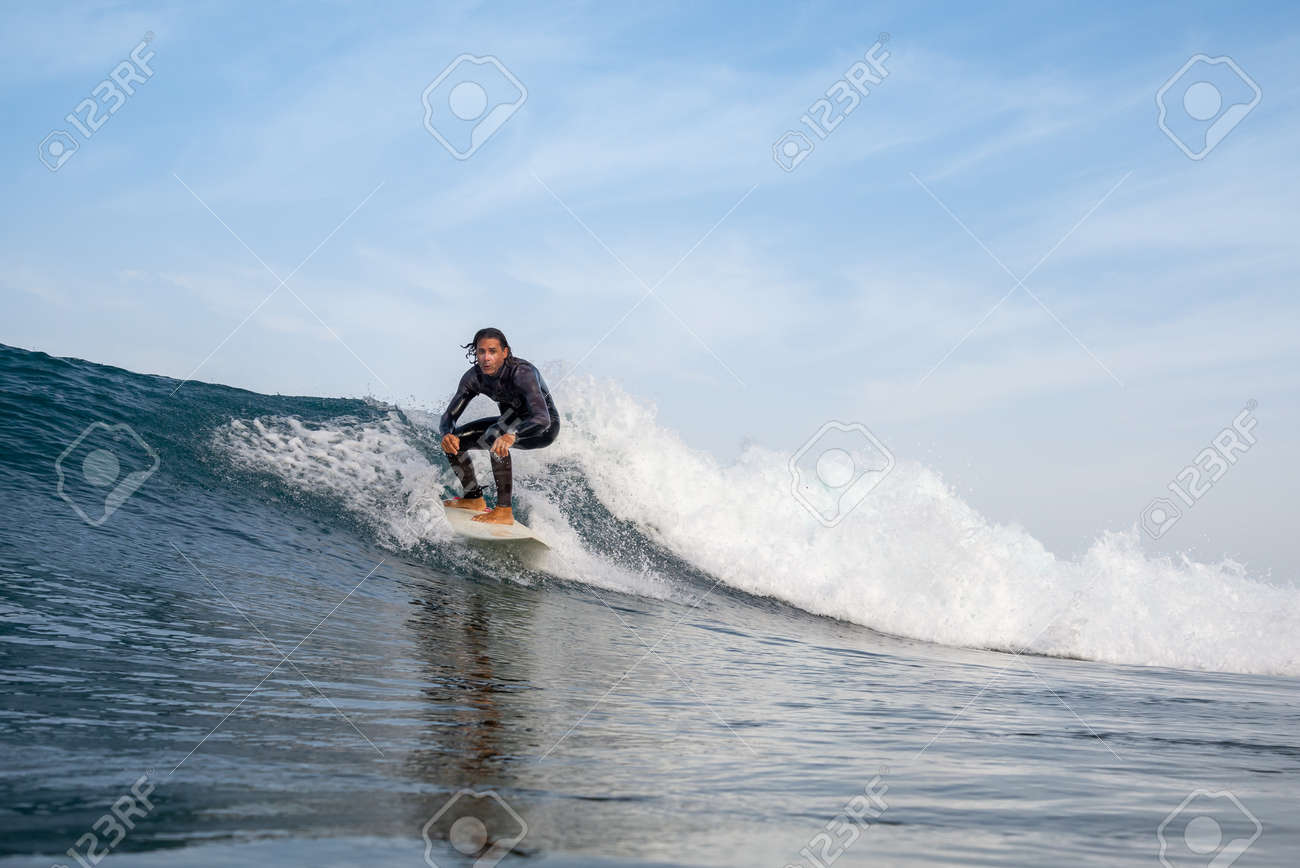 Surfer riding waves on the island of fuerteventura in the Atlantic Ocean, Canary Islands - 139118460