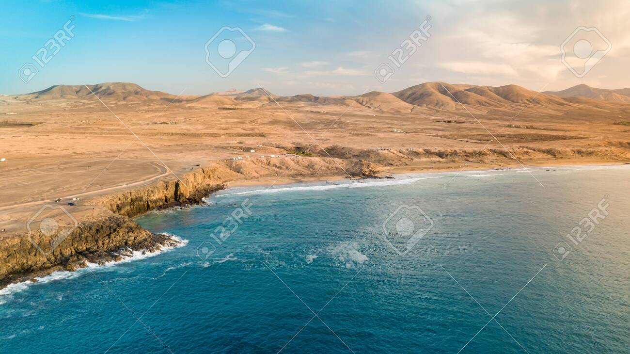 Aerial view west coast of Fuerteventura at sunset, canary islands - 139125323