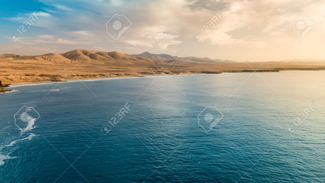 Aerial view west coast of Fuerteventura at sunset, canary islands - 139125356