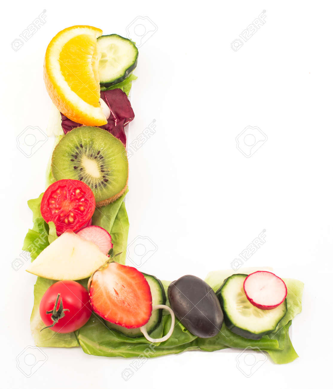 Letter L Made Salad And Fruits Stock Picture And Royalty
