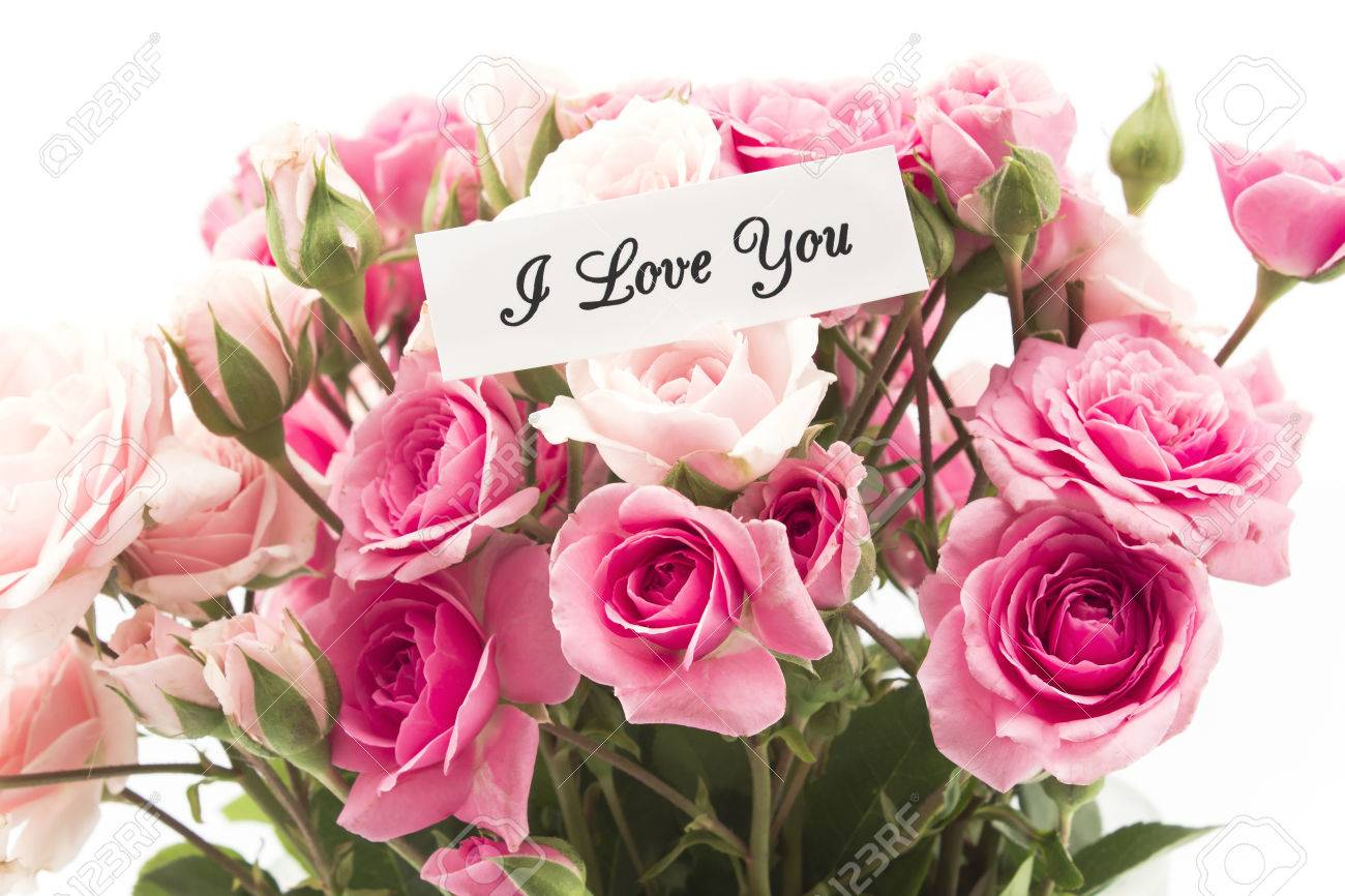 I Love You Card With Bouquet Of Pink Roses Stock Photo Picture And Royalty Free Image Image 61440251