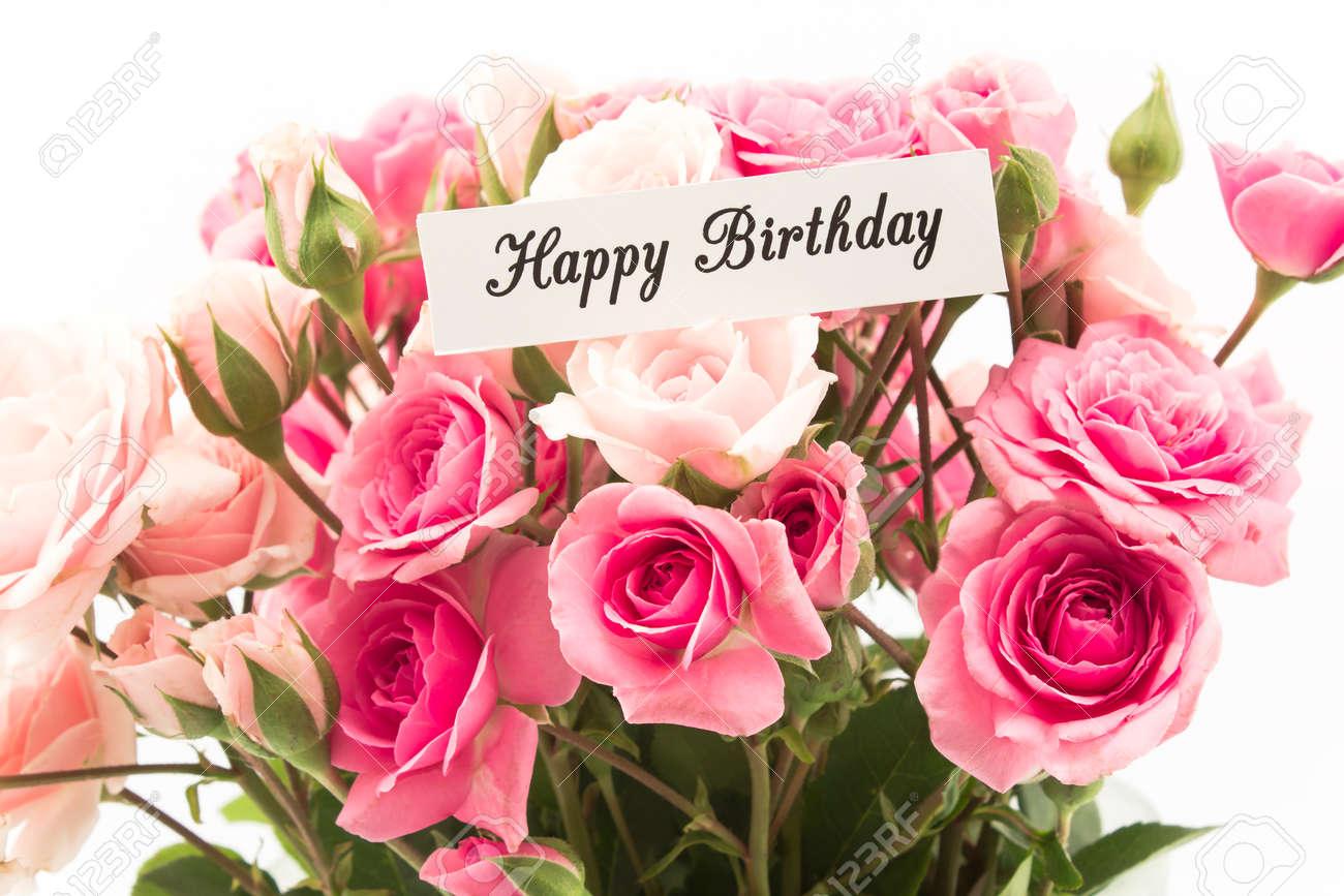 Alles Gute Zum Geburtstag Karte Mit Blumenstrauss Der Rosa Rosen