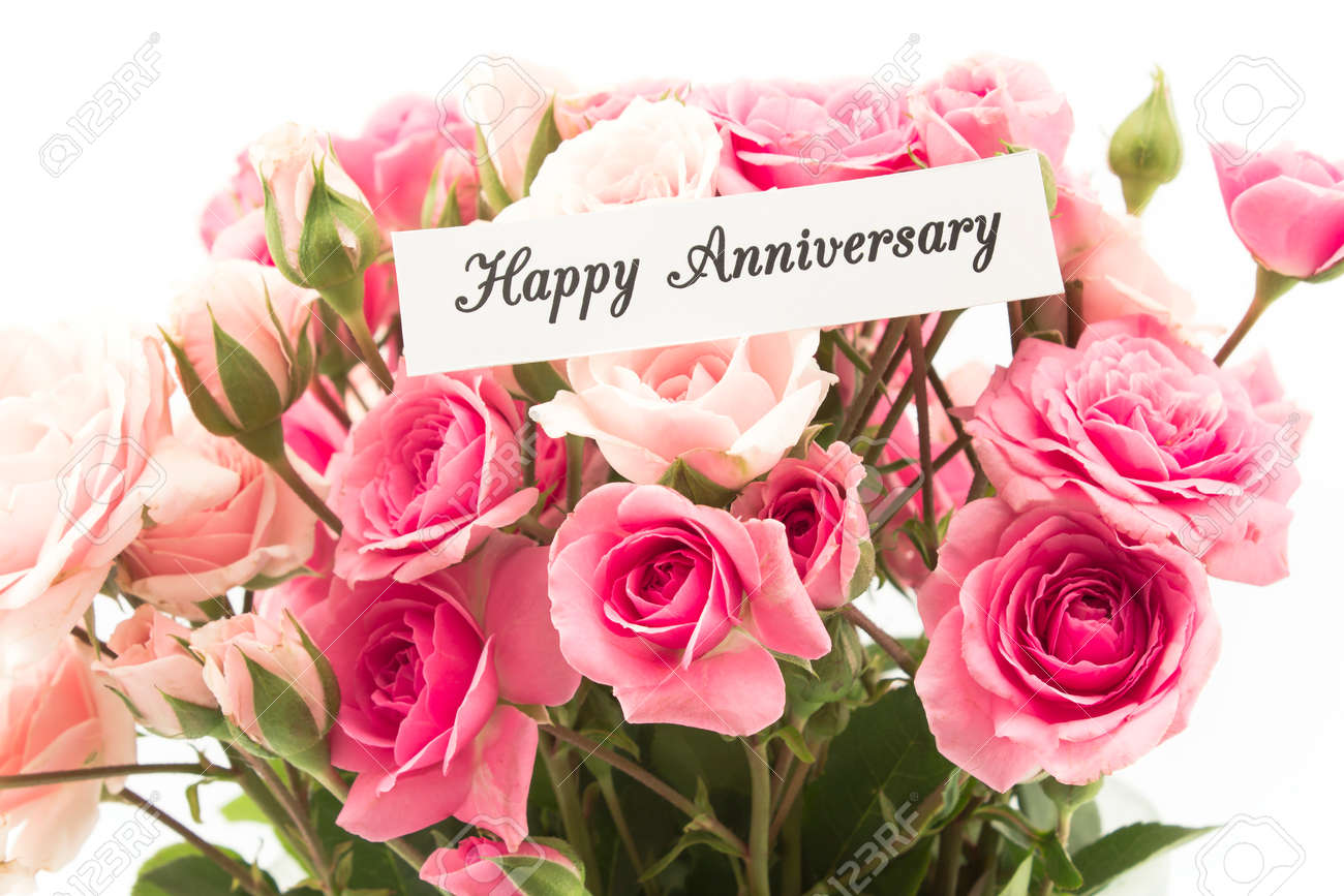 Happy anniversary card with bouquet of pink roses stock photo happy anniversary card with bouquet of pink roses stock photo 61440275 izmirmasajfo