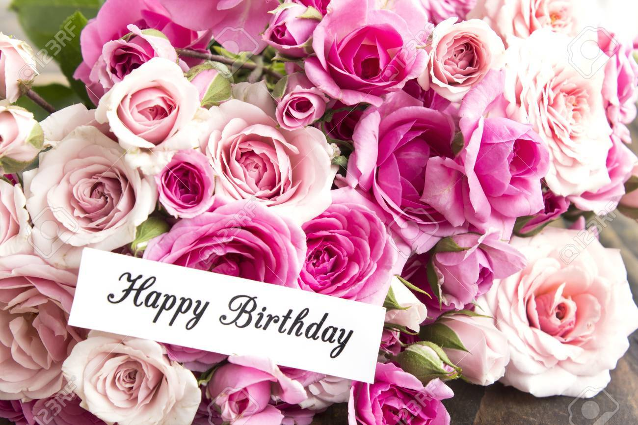 Happy Birthday Card With Bouquet Of Pink Roses Stock Photo