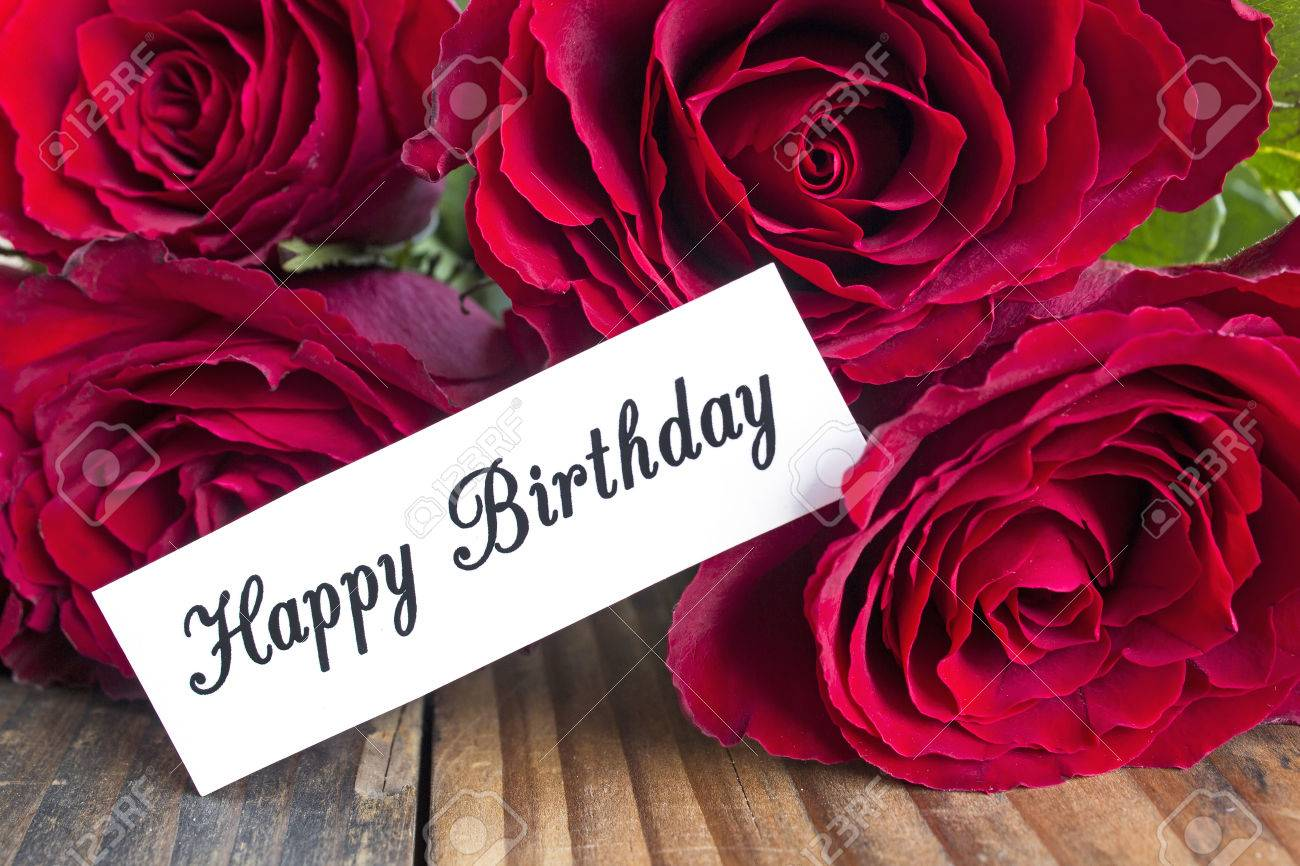 Happy Birthday Card With Bouquet Of Red Roses Close Up Stock Photo