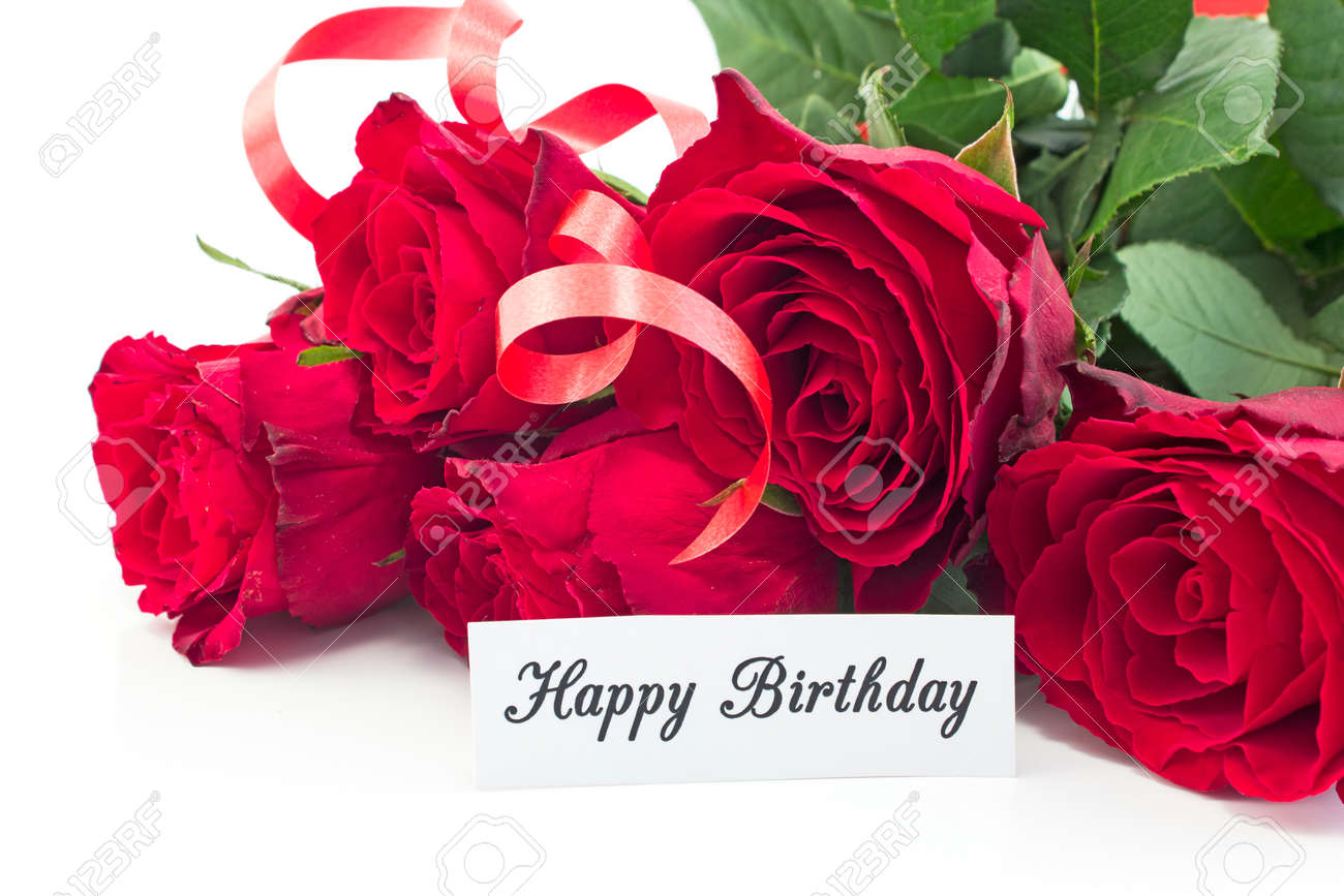 Happy Birthday Card With Bouquet Of Red Roses On White Background Stock Photo