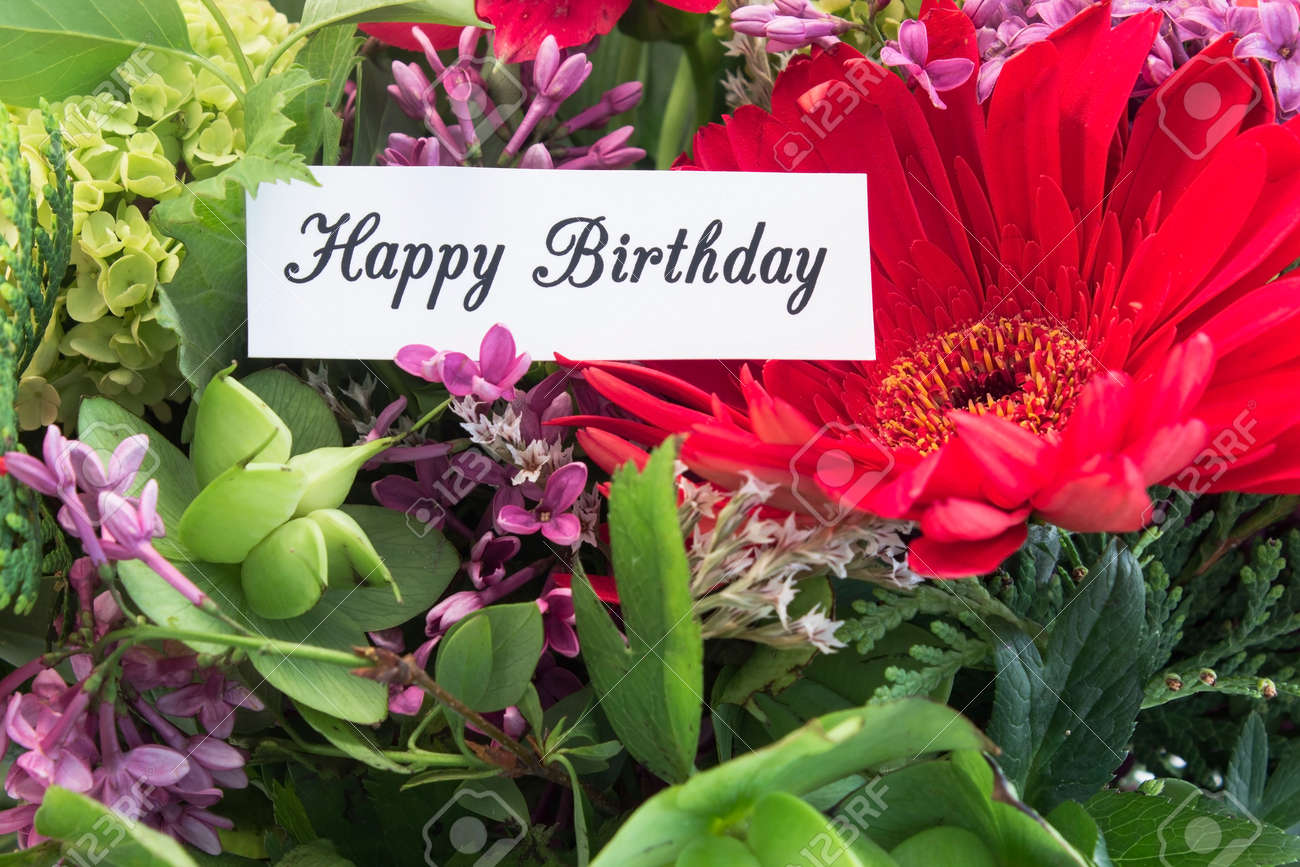 Happy Birthday Card With Bouquet Of Spring Flowers Stock Photo