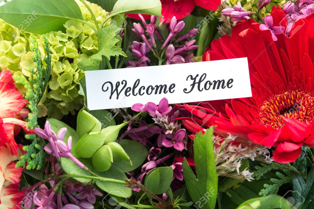 Welcome Home Card With Bouquet Of Spring Flowers Stock Photo