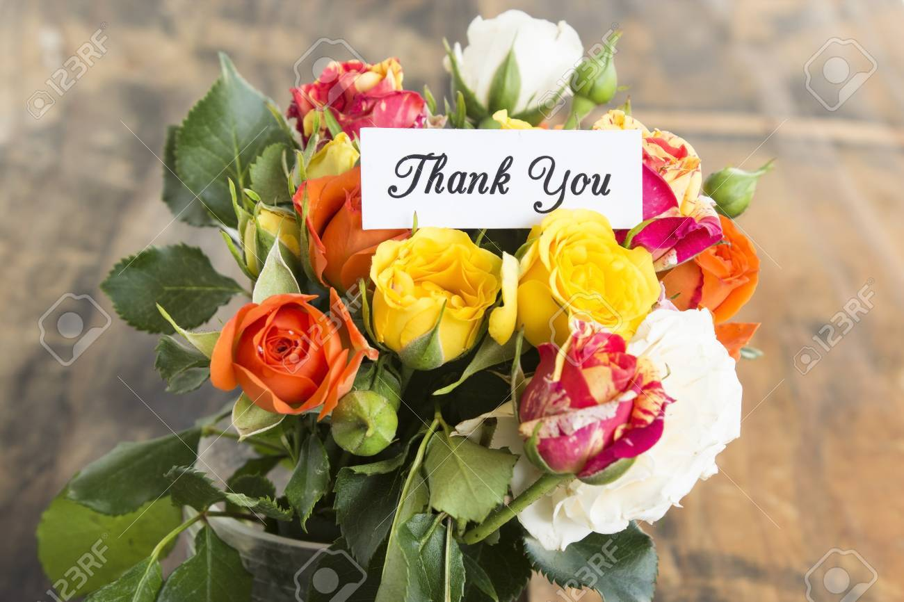 Thank You Card With Bouquet Of Multicolored Roses. Stock Photo ...