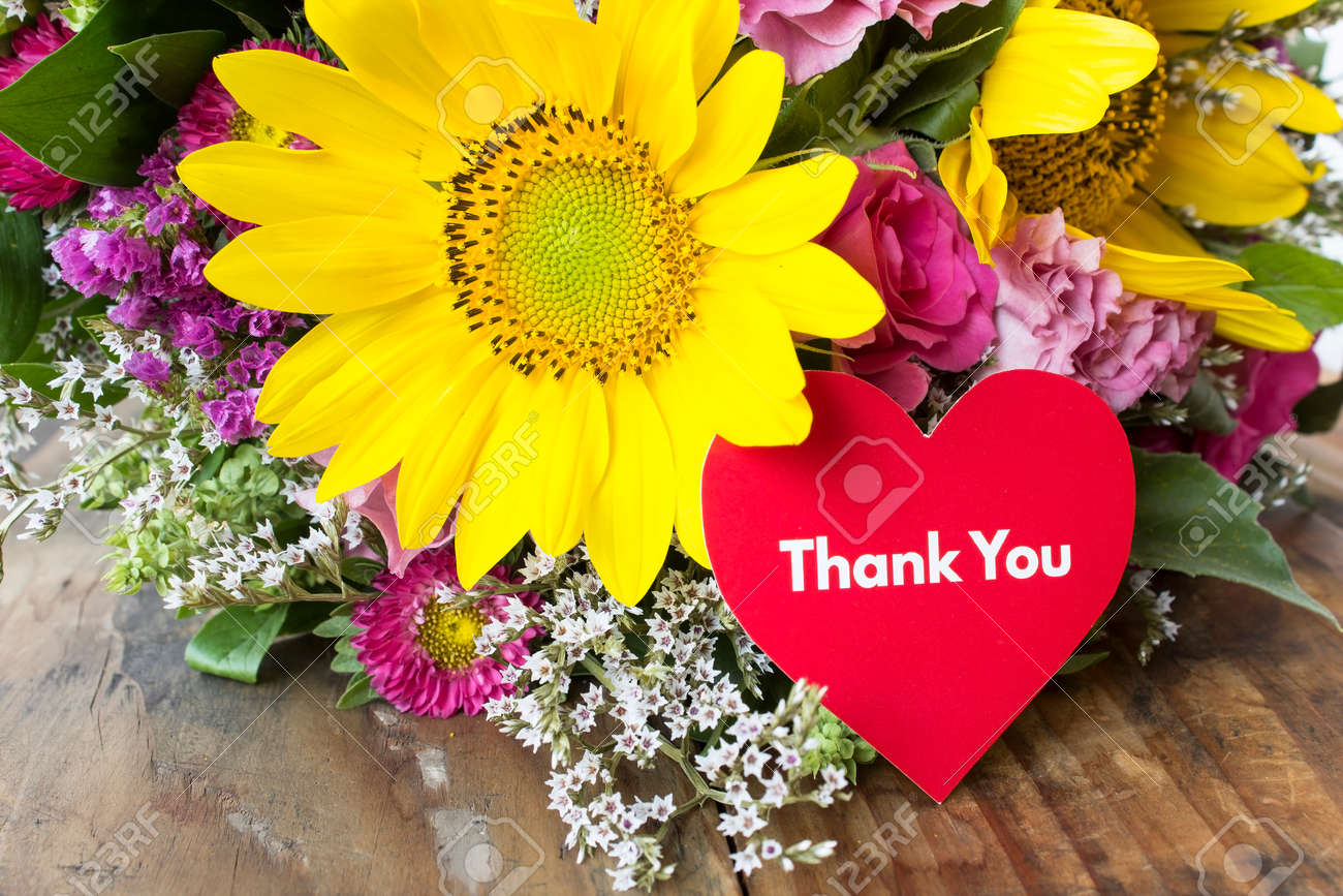Thank You Card With Bouquet Of Summer Flowers. Stock Photo, Picture ...