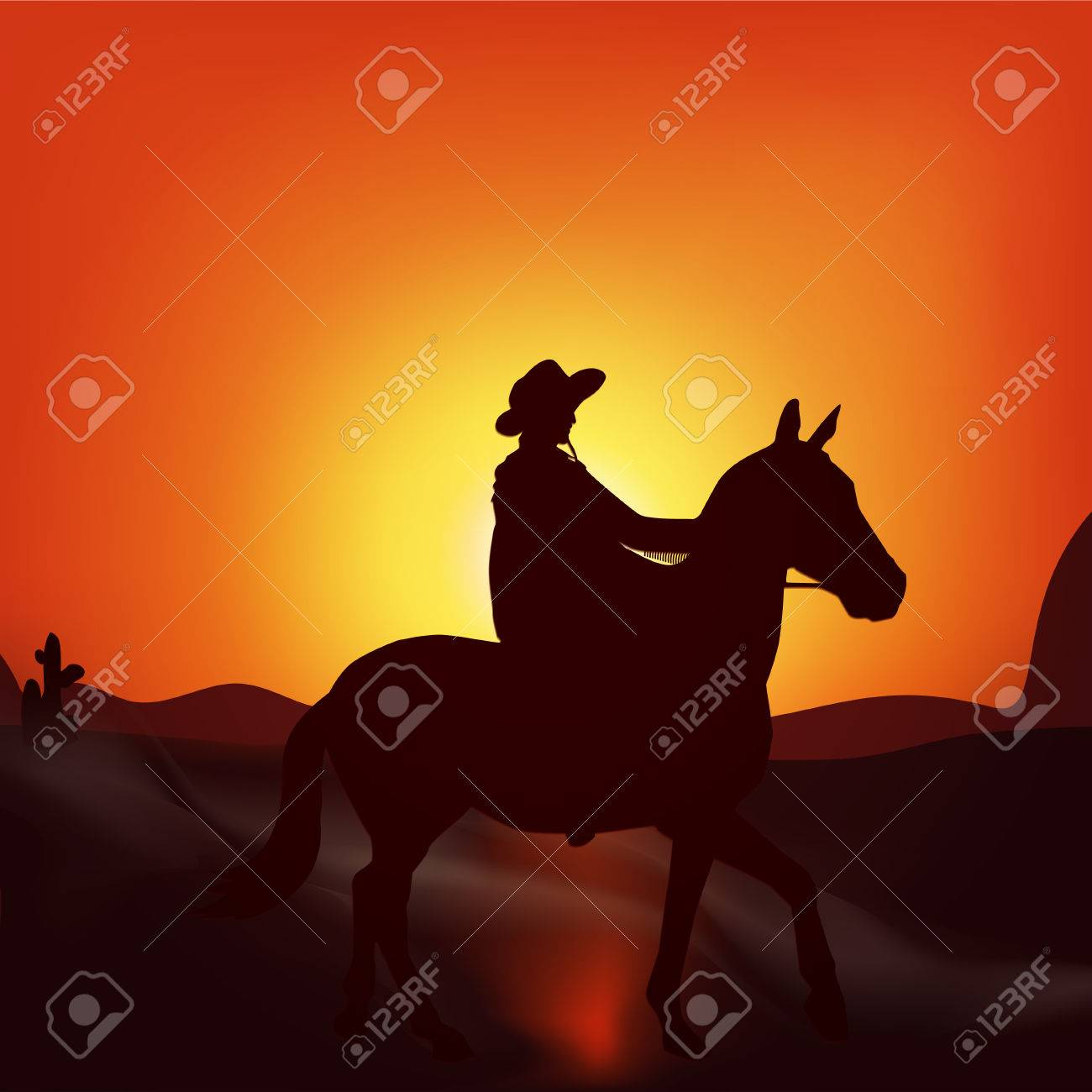 Cowboy On Sunset Background Stylish Vector Poster Wild West Royalty Free Cliparts Vectors And Stock Illustration Image 69520921