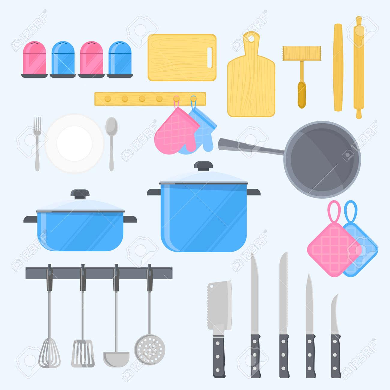 44521c55c Foto de archivo - Herramientas de cocina con utensilios de cocina Para la  preparación de fondo azul claro