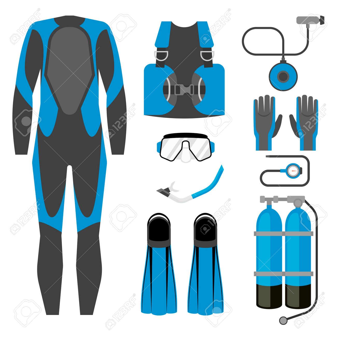 femme publier des informations sur grande variété de styles Ensemble d'icône d'équipement de plongée. Combinaison de plongée,  équipement de plongée et accessoires Articles de sport pour activités  sous-marines.