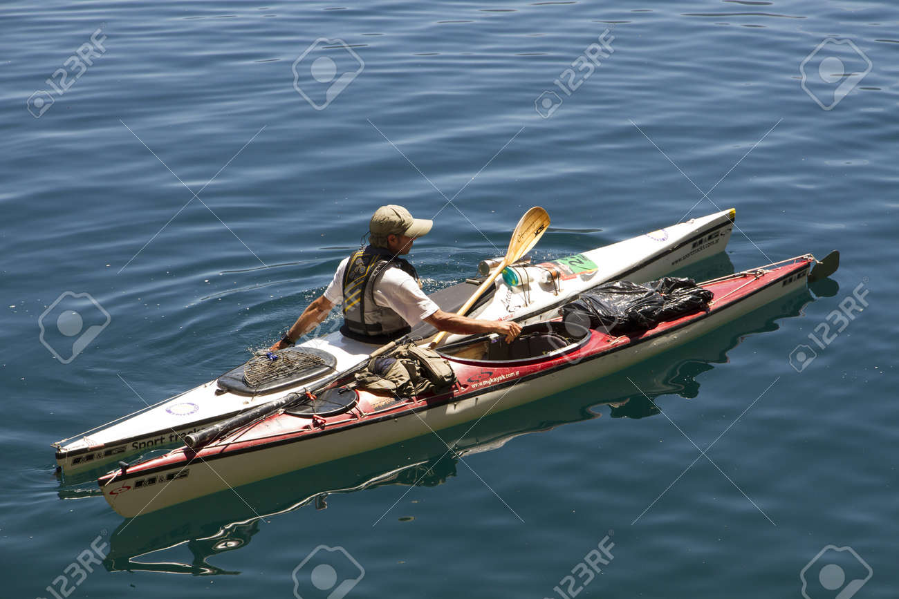 kayaking on Lake lacar, san martin de los andes, patagonia argentina  Stock Photo - 20132445
