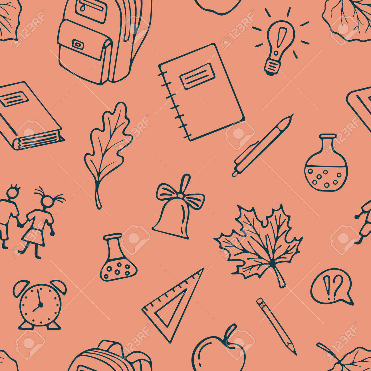 Back To School seamless Pattern Background  Graphic by hand