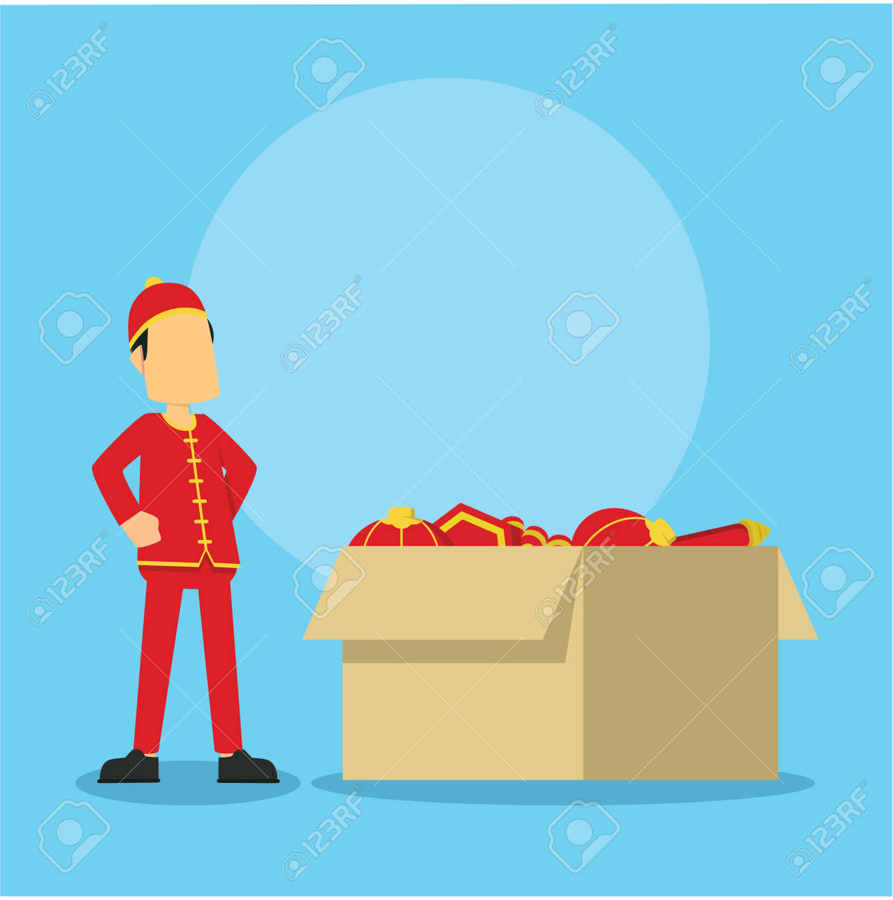 chinese man and big box full of chinese stuff - 70647130