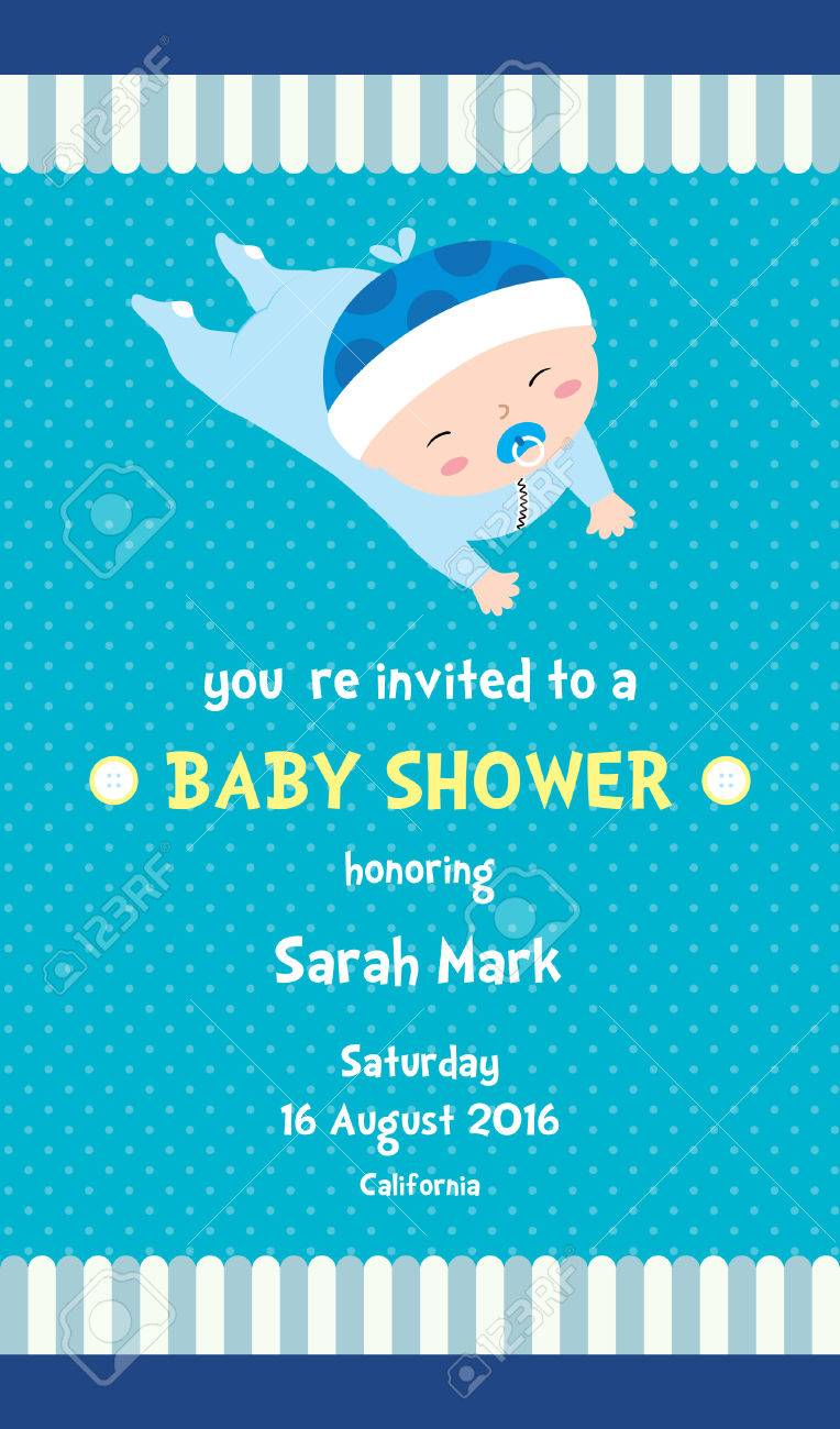 Boy Baby Shower Invitation Card With A Cute Baby Boy Cartoon