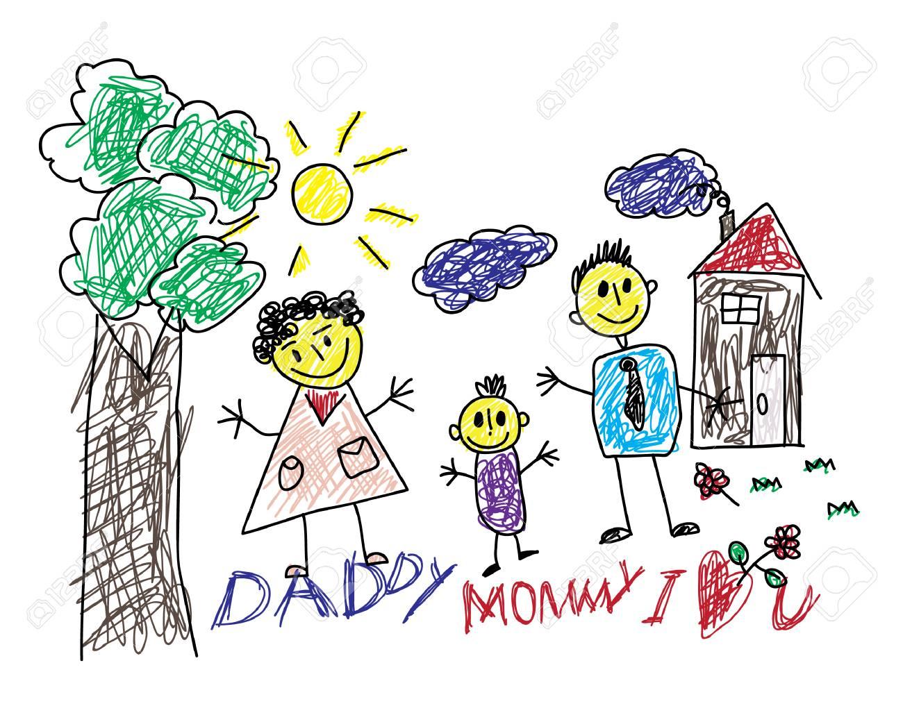 Disegni Dei Bambini Carini Di Una Famiglia Felice E Con Un Testo Mamma Papà Ti Amo