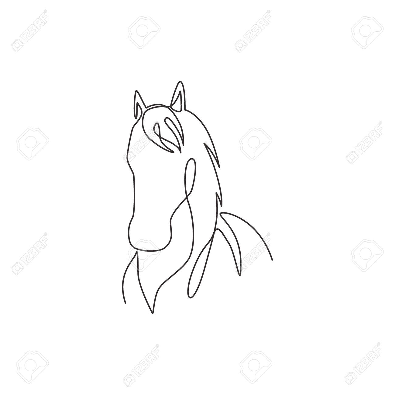 One Single Line Drawing Of Beauty Elegance Horse Head For Company Royalty Free Cliparts Vectors And Stock Illustration Image 150689496