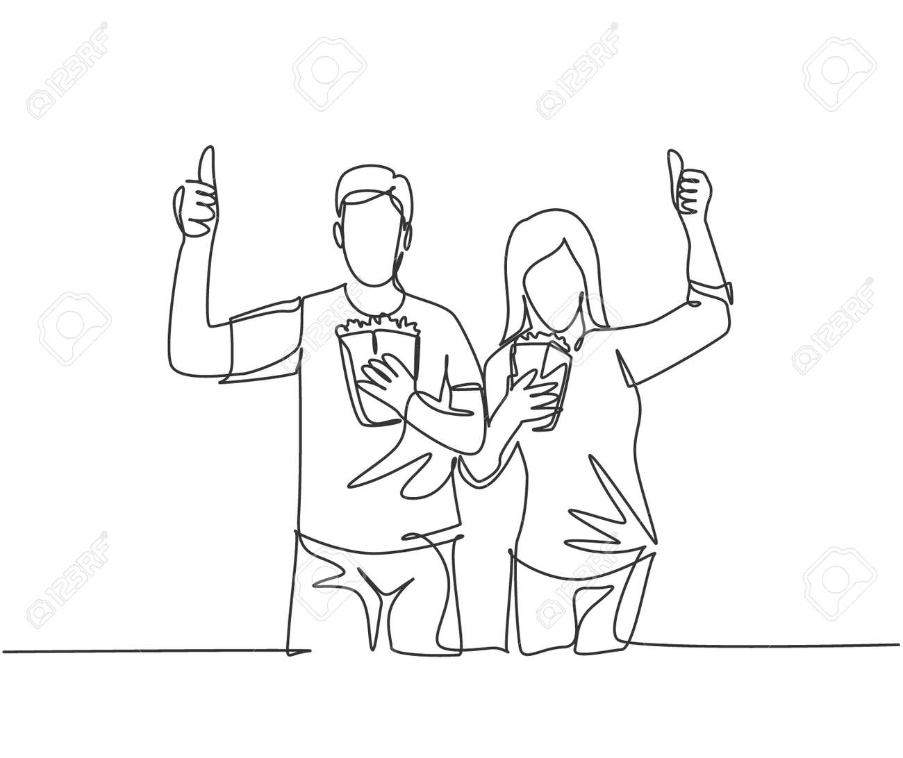 One line drawing of young happy couple giving thumbs up gesture and holding pop corn ready to watch the movie on theater. Entertainment concept. Continuous line graphic draw design vector illustration - 150288809