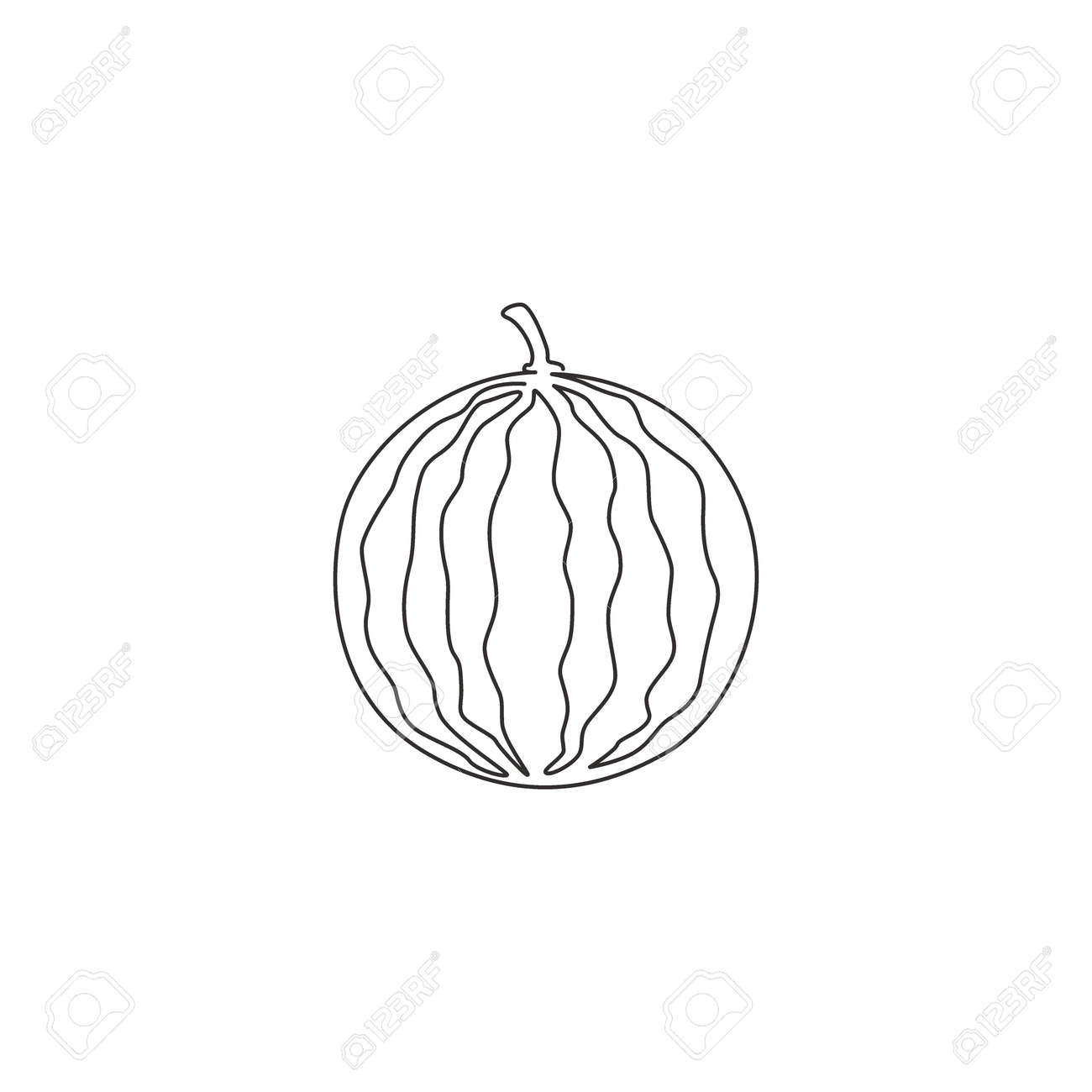 Single Continuous Line Drawing Of Whole Healthy Organic Watermelon Royalty Free Cliparts Vectors And Stock Illustration Image 155182853
