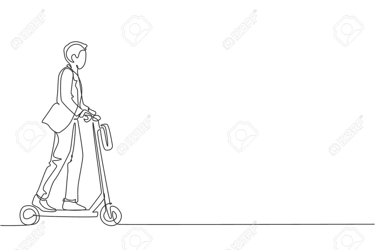 One Continuous Line Drawing Of Young Worker Man Ride Electric Royalty Free Cliparts Vectors And Stock Illustration Image 159964735