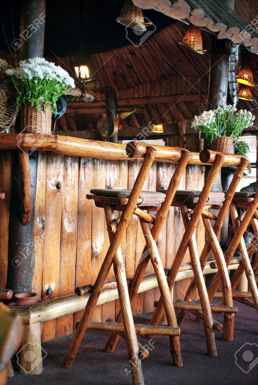 Wooden Bar And Chairs In Small Restaurant Stock Photo Picture And Royalty Free Image Image 3810578
