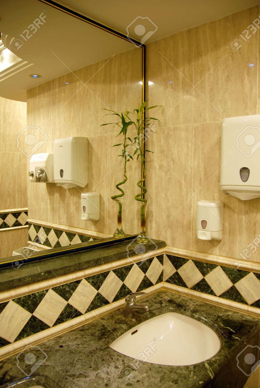 Bathroom Luxury Interior With Greenish And Cream Marble Design Stock Photo    4953657
