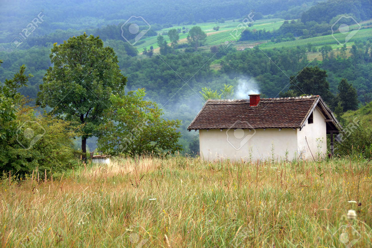 rural landscape of Serbia, lonely house on yellow meadow with smoke from chimney Stock Photo - 10018265