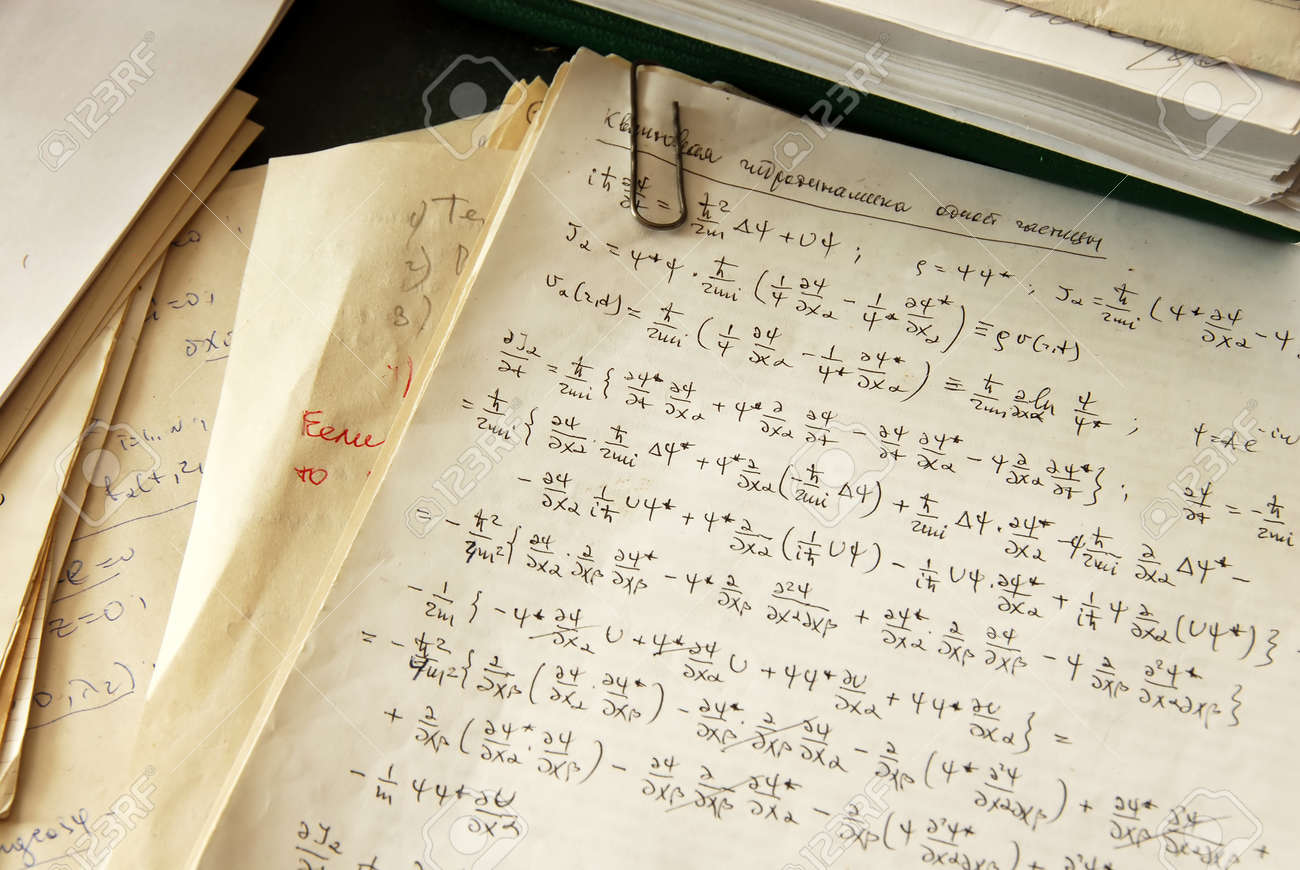 physics formulas and calculations written on paper, quantum hydrodynamics of a single particle - 10411088