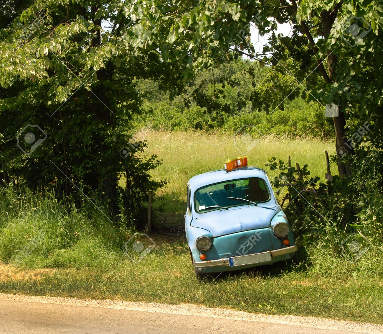 Old Car For Sale >> Honey In Glass Jars For Sale On The Top Of Old Car Parked By