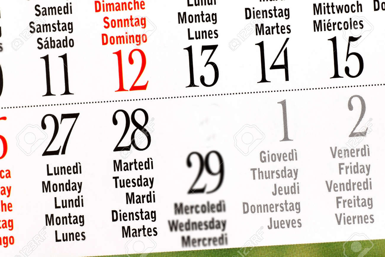 Details Of Calendar Of Leap Year February 2012 Stock Photo Picture