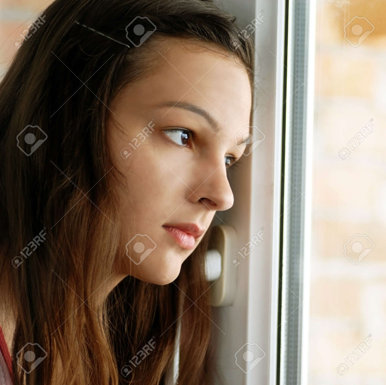 caucasian teenage girl portrait looking out  window Stock Photo - 12941852