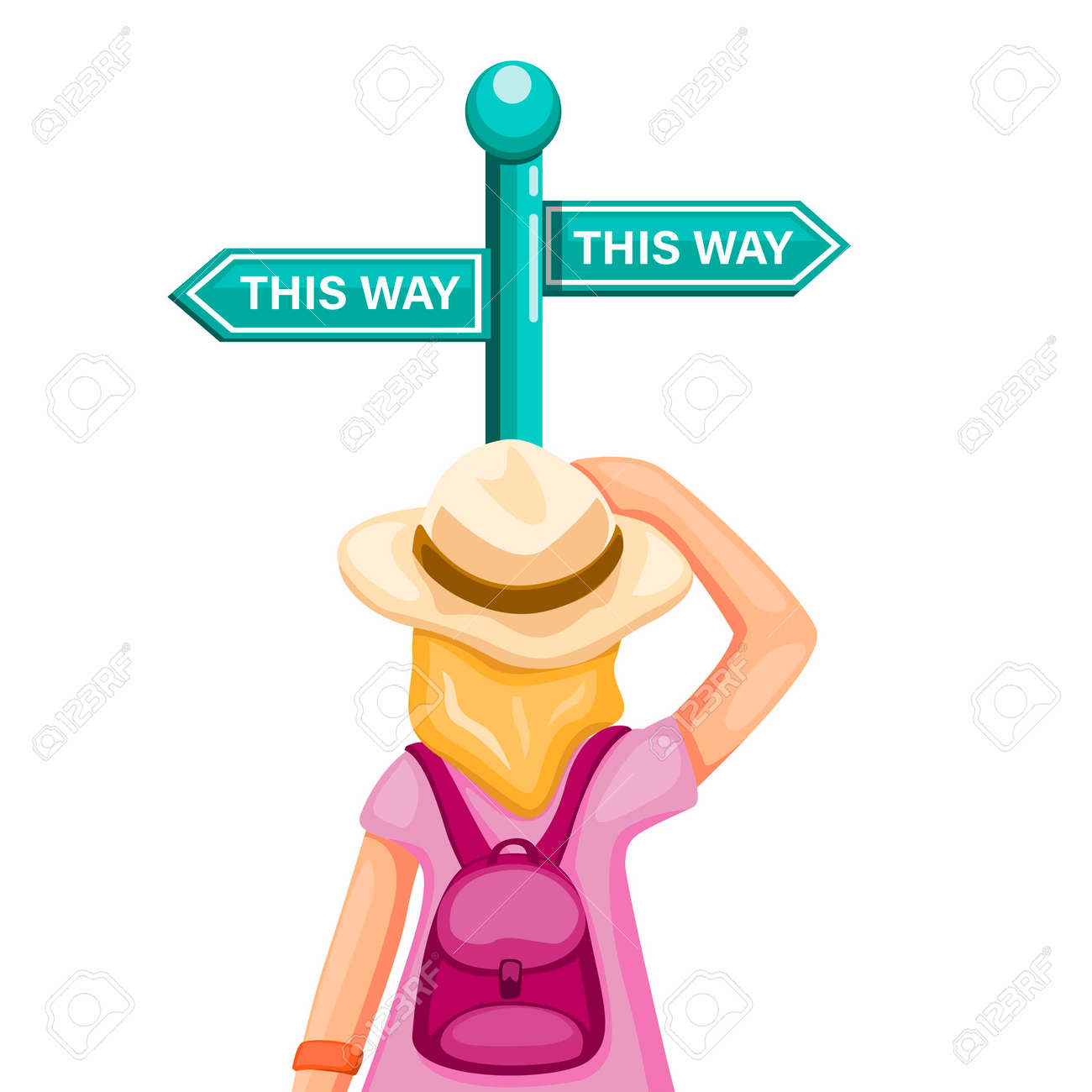 Backpacker girl confusing choose way in road signboard, metaphor advertisment for travel and trip guidance symbol in cartoon illustration vector isolated in white background - 151348524