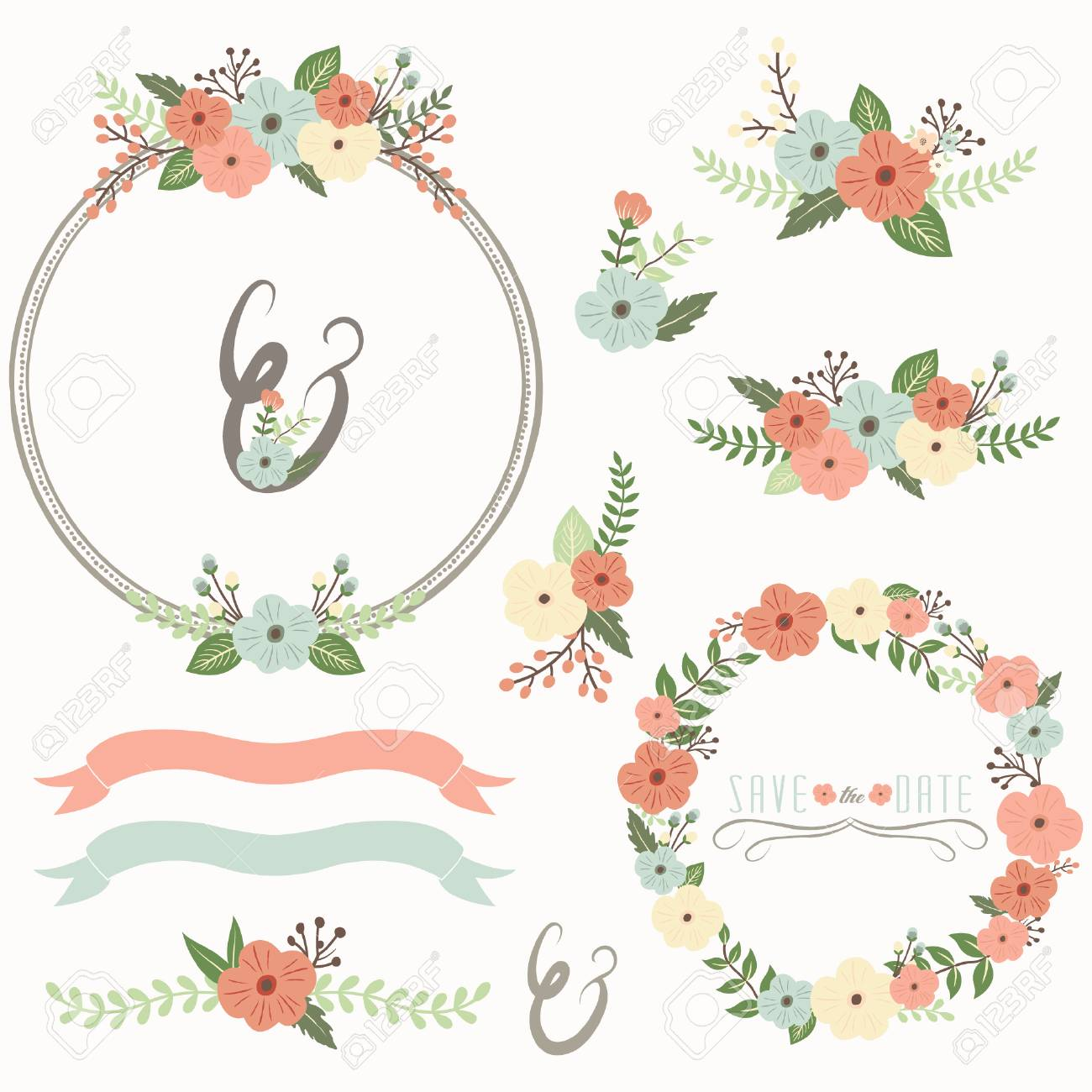 Rustic Flower Wreath Collection Set On White Background Vector Illustration Stock