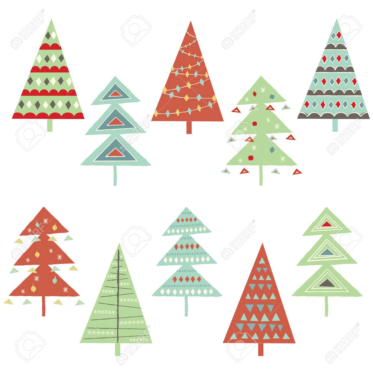 Christmas Trees Background Clipart.Christmas Tree Set On White Background Vector Illustration