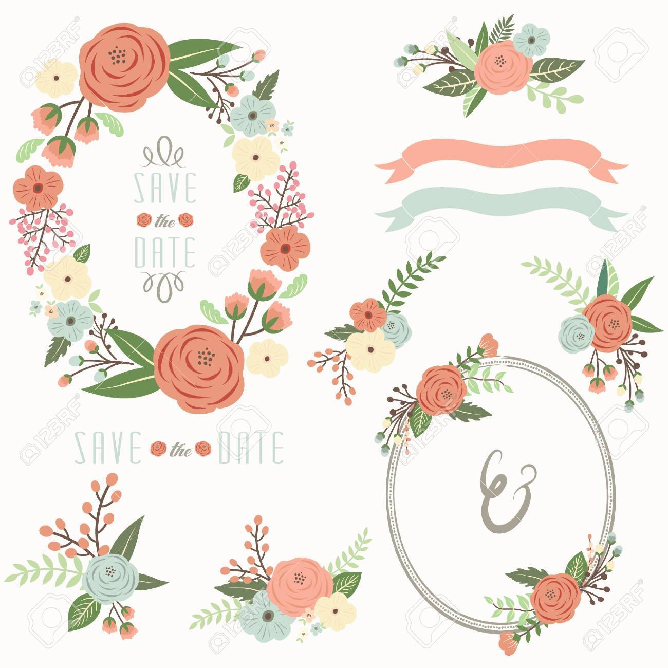 Wedding Floral Wreath Frame Collections Royalty Free Cliparts