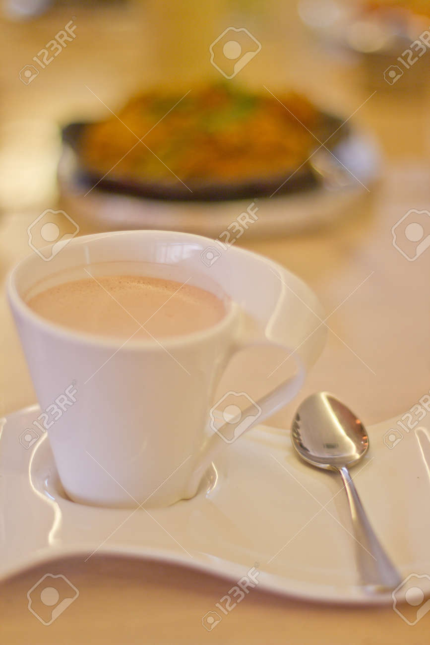 A Cup of Hot Chocolate with Fancy Cup and Saucer Stock Photo - 8894843