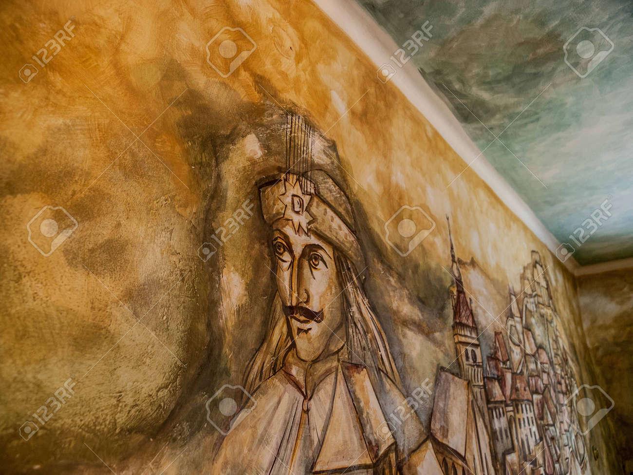 Peinture De Vlad Tepes Vlad L Empaleur Sur Le Mur Intérieur De La Maison Qu Il Est Né En à Sighisoara En Transylvanie En Roumanie En Europe